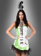 Sexy Neon Rock Gitarren Kostüm grün