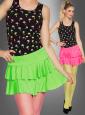 Neon Mini Skirt with Ruffles
