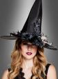 Halloween Hut für Hexen mit Totenkopf-Blumen Schmuck
