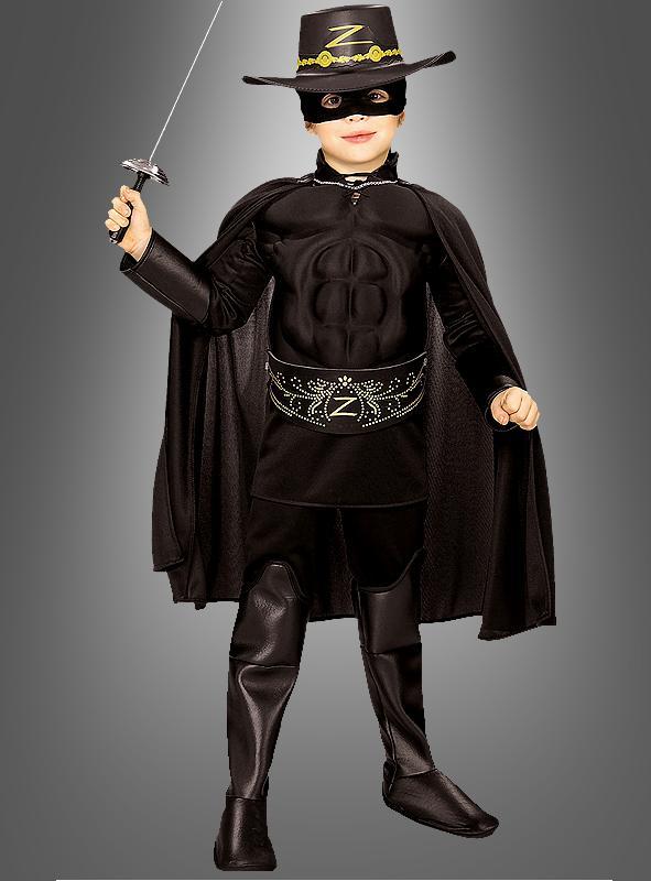 Kinder Deluxe Zorro Kostüm mit Muskelshirt