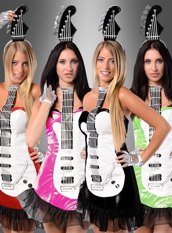 Sexy Popstar Gitarren Kostüm pink