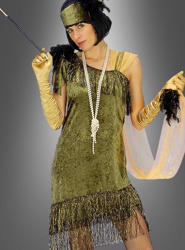 Grünes Charlestonkleid mit Stirnband