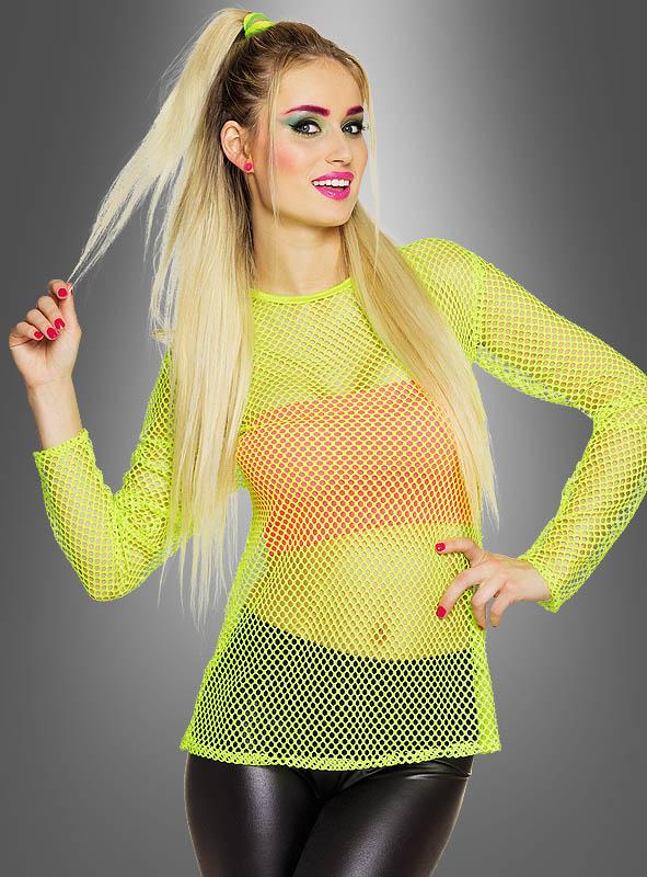 Netz Shirt in Neonfarben 80er Outfit