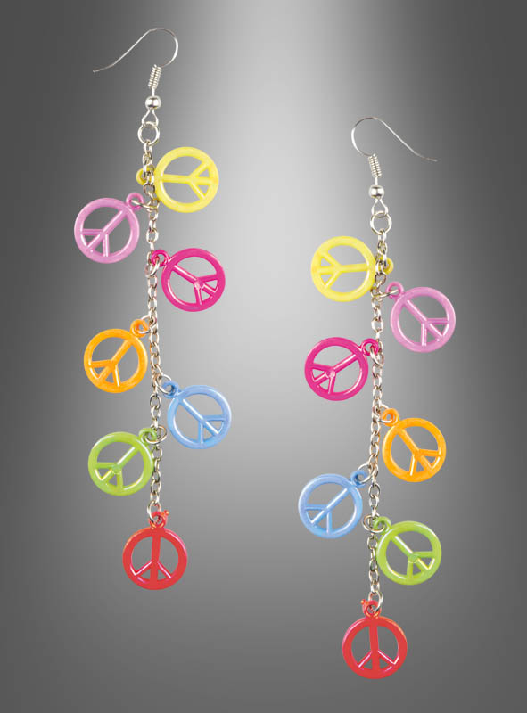 Hippie Earrings with multicolor Peace Signs