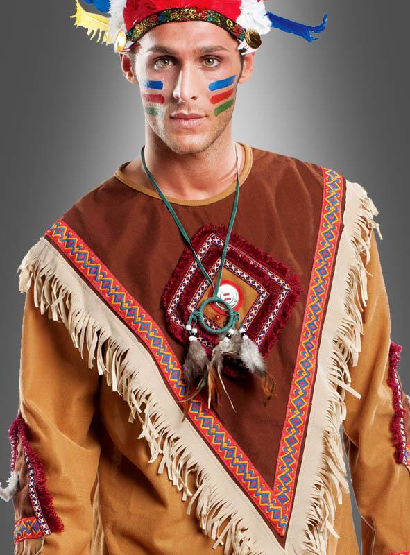 Herrenkostüm Indianer mit Federschmuck Deluxe