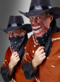 Western Halunke mit Zombie Halbmaske
