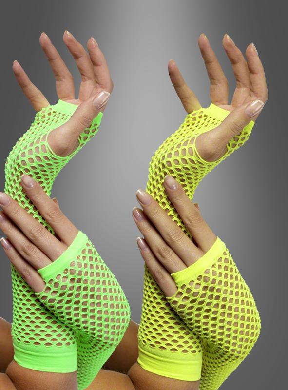 Neon fishnet gloves