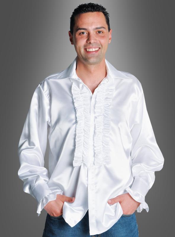Rüschenhemd weiß für Herren weisses Hippie Hemd 70er 80er Kostüm Gr S XXL