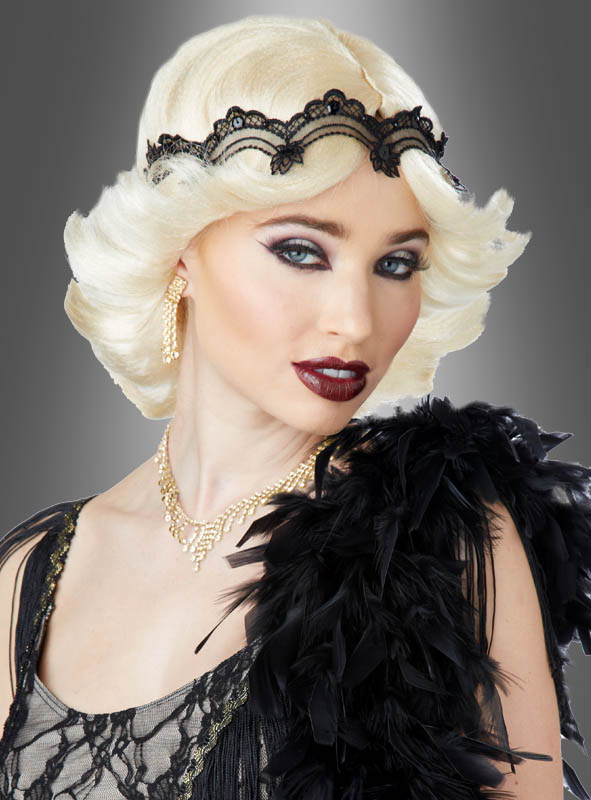 20s Glamour Wig with Lace Headband