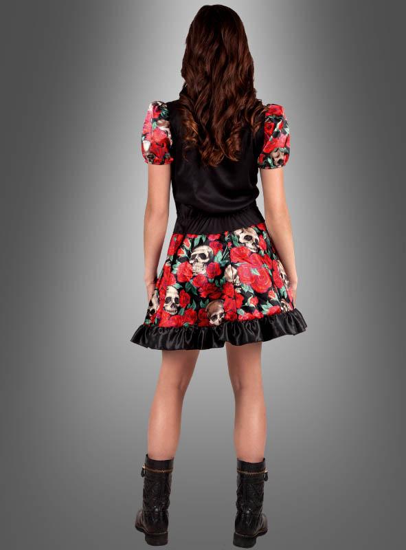 Totenkopf Kleid mit Rosen Tag der Toten