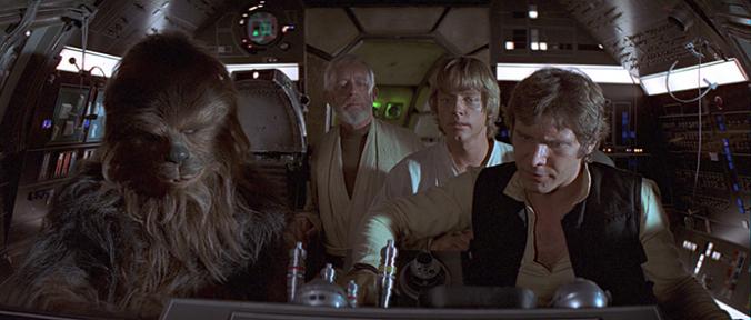 Luke, Han, Chewbacca und Obi-Wan