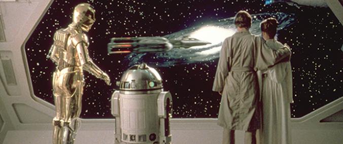 C-3PO, R2-D2, Luke Skywalker und Prinzessin Leia