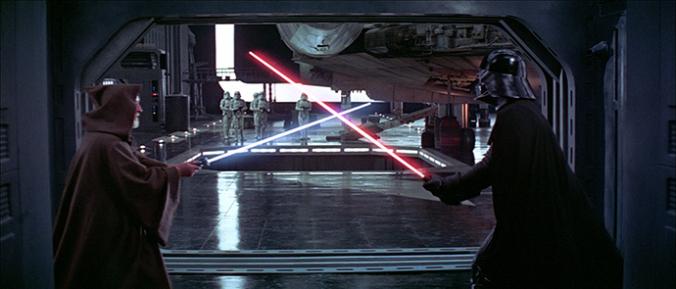 Obi-Wan Kenobi und Darth Vader beim Lichtschwertduell