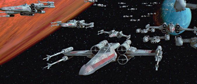 X-Wing Kampfflieger im Anflug auf den Todesstern