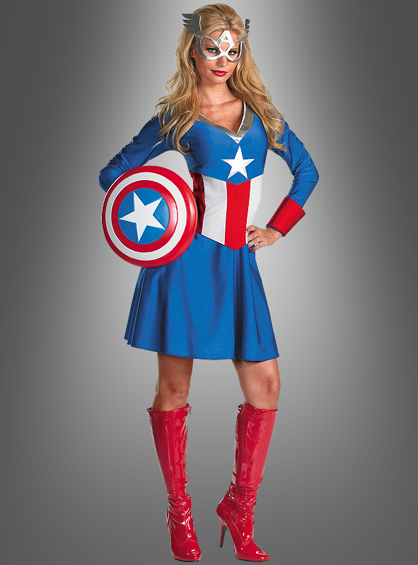 captain america f r damen superhelden kost m f r mottopartys. Black Bedroom Furniture Sets. Home Design Ideas