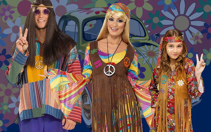 Hippiekostüme Hippieparty 70er 60er Jahre Mottoparty Woodstock Blumenkinder Peace Karnevalskostüme