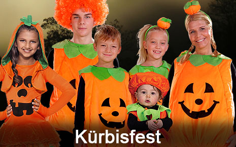 Kürbiskostüme Halloweenkostüme Familienkostüme orange Pumpkin Kürbisse